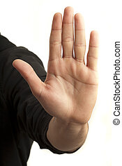 hand symbol that means stop on white background