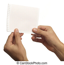 hand holding a note on a white background