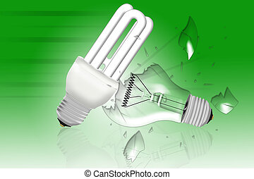 energy saving bulb survives the impact with the old light...