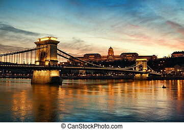 Budapest at night - Hungarian landmarks, Chain Bridge, Royal...