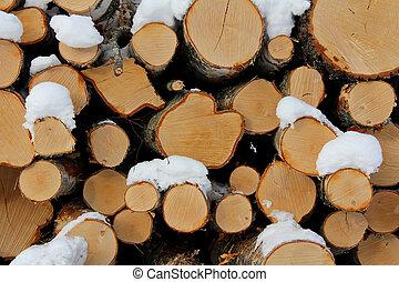 Birch Logs Background