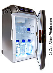refrigerator with bottles of water