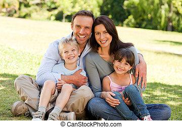 família, sentando, parque