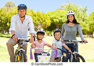 Family with their bikes