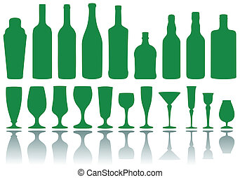 bottles and glasses, vector - set of alcohol bottles and...