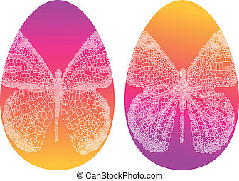 easter eggs with butterfly, vector - colorful easter eggs...