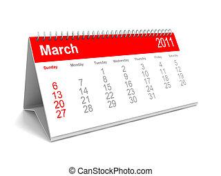 Desk calendar March 2011 - 3D rendering of a desk calendar
