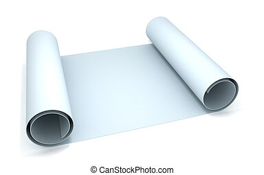 Blueprint - 3D rendering of a blueprint paper roll
