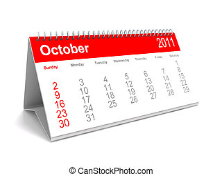 Desk calendar October 2011 - 3D rendering of a desk calendar