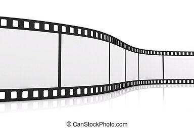 35mm film strip - 3D rendering of a blank 35mm film strip