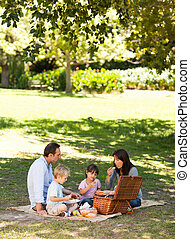 Smiling family picnicking in the park