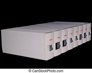 Eight Back-UPS on black background