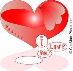 love red heart with text