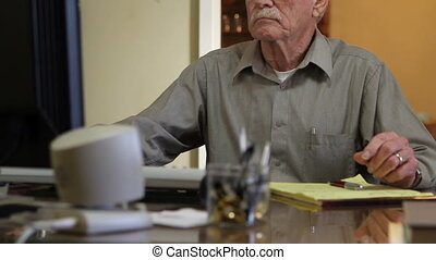 Senior Work Retirement - Senior citizen working at his home...