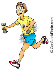 Jogging With Weights - Cartoon image of a man jogging with...