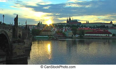 Scenic sunset in Prague, Czech Republic