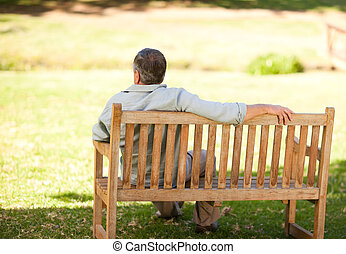 Elderly man sitting on the bench with his back to the camera