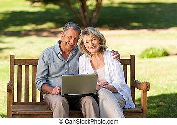 Senior couple working on their laptop