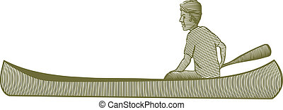 Canoe - Woodcut style illustration of a man in a canoe
