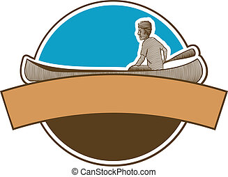 Canoeing Label - Label featuring a woodcut style...