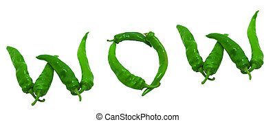 WOW text composed of green peppers Isolated on white...