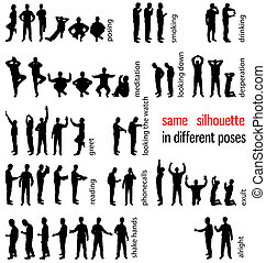 silhouettes set - same silhouette in different poses
