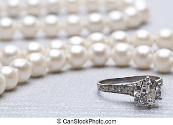 Antique Wedding Ring and Pearls wit