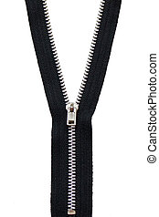 Black Zip isolated on white - A black zip fastener isolated...