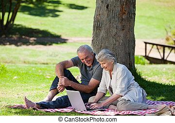Sênior, fazendo piquenique, par, jardim