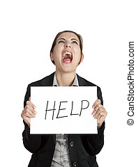 Help me please! - Stressed business woman imploring for...