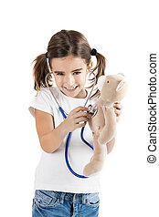 Little nurse - Beautiful little girl pretending to be a...