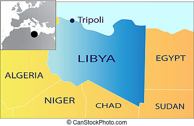 Political map of Libya vector illustration