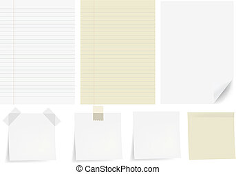 Set Papers, Isolated On White Background, Vector...