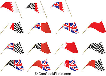 Union Jack, Bahrain Flag - British, Bahrain and Checkered...