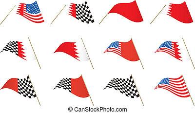 USA, Bahrain Flag