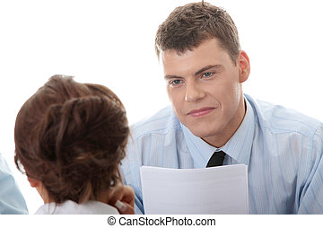 Business coaching concept. Young woman being interviewed for...