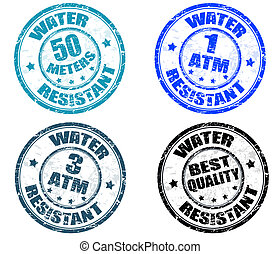 Water resistant stamps - Set of grunge rubber stamps with...