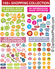 100 colorful shopping stickers, vector