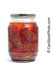 spanish chorizos - canned spanish chorizos on a white...
