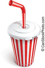 paper fast food cup with red tube