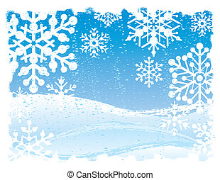 Snowflake Background - Vector illustration of a snowy scene.