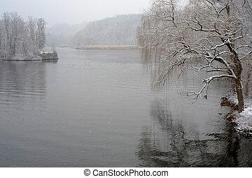 Hudson river in winter