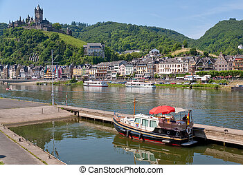 view on town Cochem and castle under town Germany - view on...