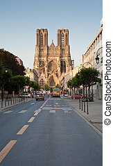 Notre Dame Cathedral in Reims, France - view on gothic...