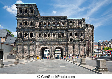 view on Porta Nigra in Trier, Germay - view on Porta Nigra...