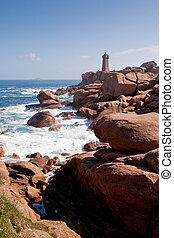 rose lighthouse on Pink Granite Coast in France