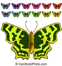 Collection of colorful butterflies. - Alphabet of gold...