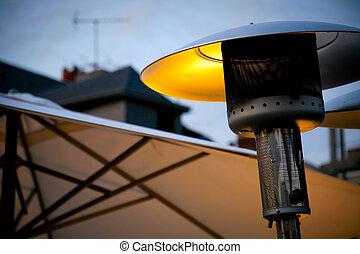 street heater in outdoor restaurant