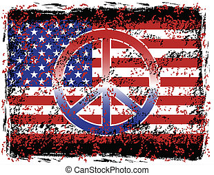 American Peace - Vector illustration of the American flag...