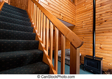 Fox Glacier Lodge apartment Interior - Detail of stairway....